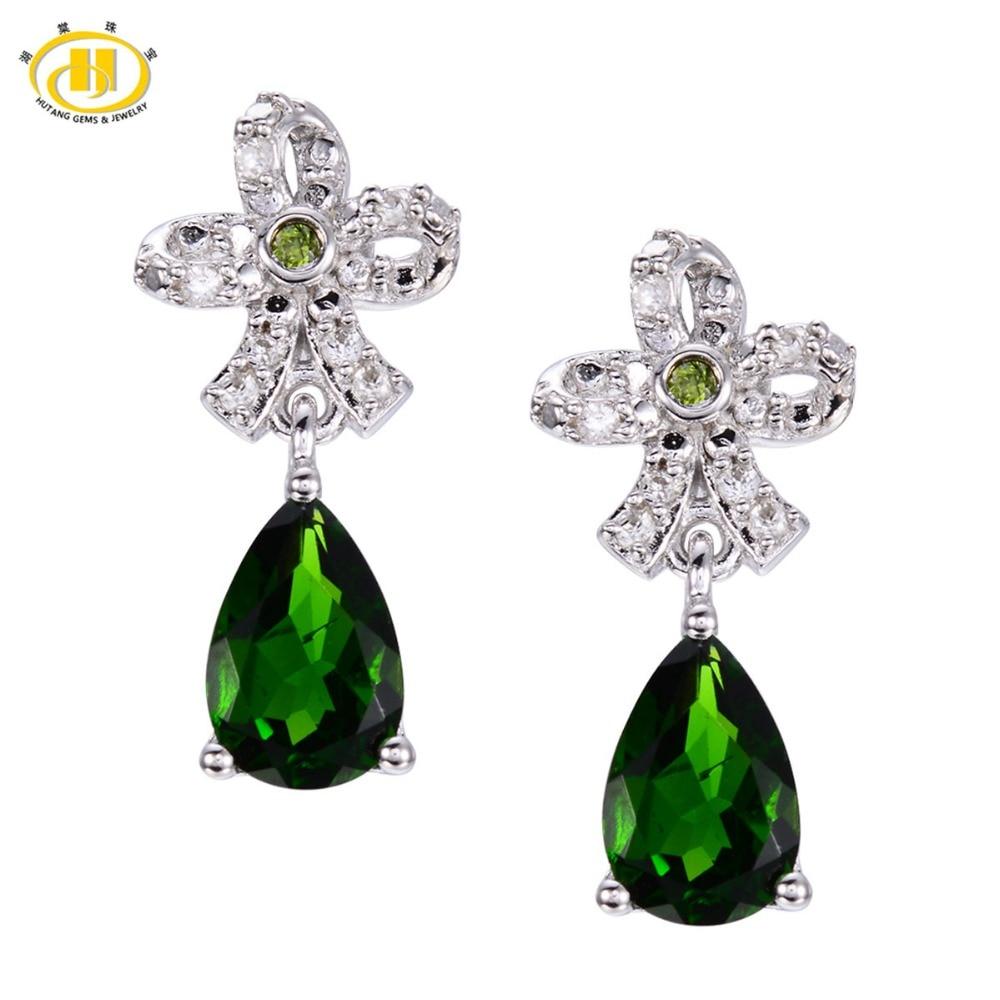 Здесь продается  Hutang 2.8ct Natural Chrome Diopside Flower Drop Earrings Solid 925 Sterling Silver Gemstone Fine Jewelry Women