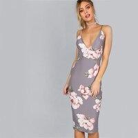 Women Sexy Deep V Neck Party Dress Grey Floral Large Backless Dresses Females Elegant Slim Smooth