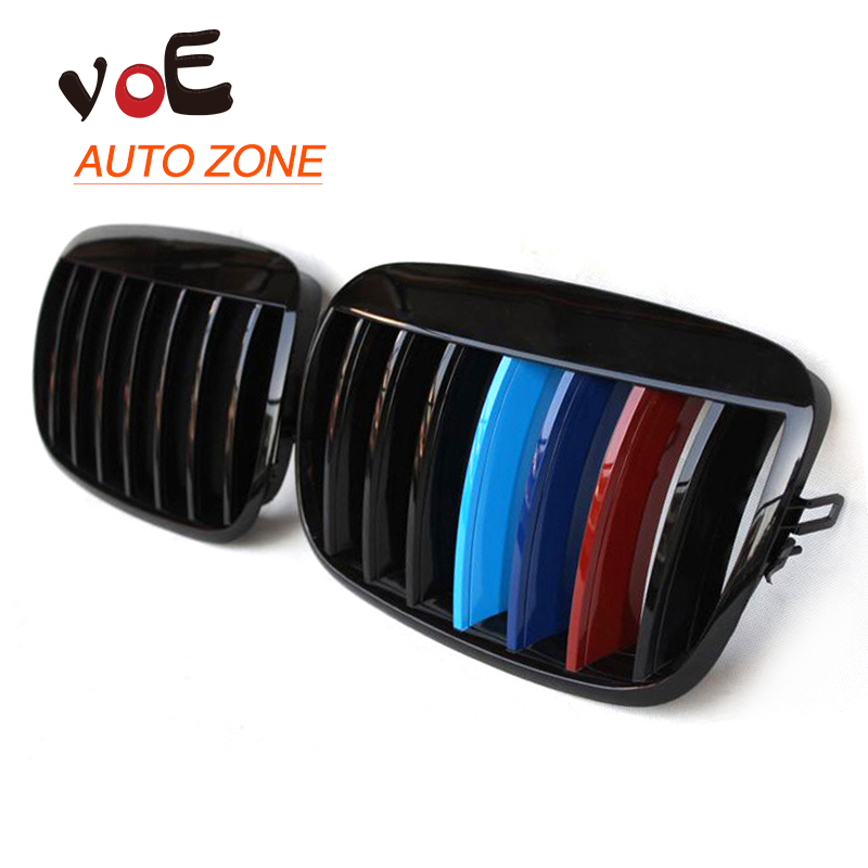 2007-2013 Kidney Shape Gloss 3-color ABS Plastic E70 E71 Modified Style X5 X6 Front Racing Grill Grille for BMW E70 X5 BMW X6 car styling carbon fiber rear view mirror cover for bmw x5 e70 x6 e71 2007 2013