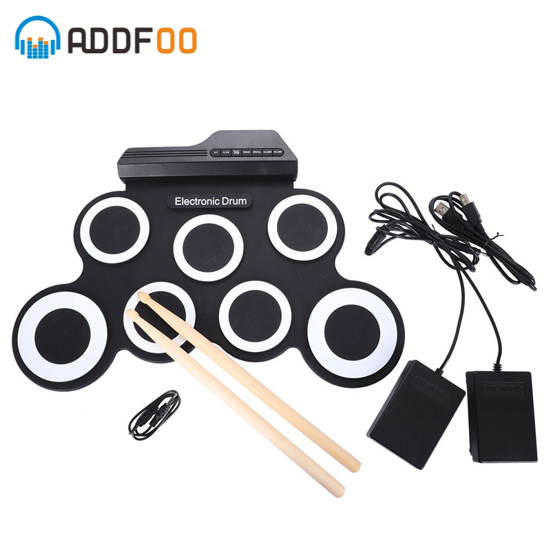 ADDFOO Electronic Drum 7 Pads Portable Digital USB Roll Up Foldable Silicone Electronic Drum Pad Kit With DrumSticks Foot Pedal