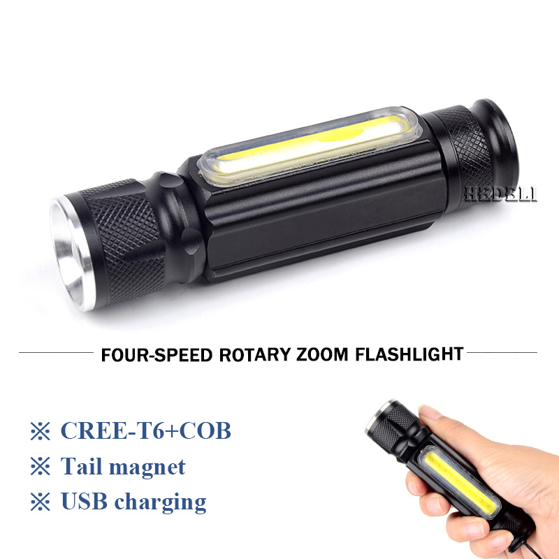 USB rechargeable built-in battery LED flashlight, CREE XM L T6 + COB 4mode torch with magnet, camping hiking fishing flash light 1 cob led lamp usb rechargeable built in battery led light with magnet portable flashlight outdoor camping working torch