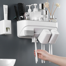 Toothbrush Holder Automatic Toothpaste Dispenser Wall Mounted with Cups Bathroom Organizer Storage Rack
