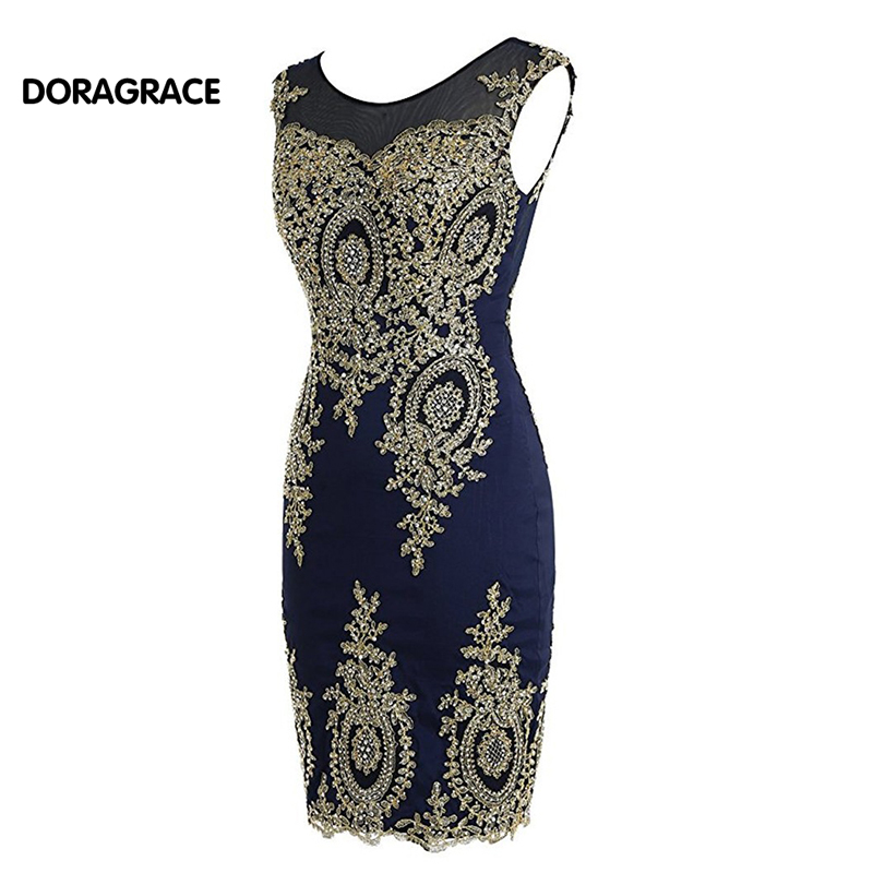 Doragrace Elegant Applique Beaded Short Cocktail Dresses Women Evening Party Dress vestido de festa curto
