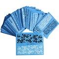 DOCE TENDÊNCIA 48 ficha Nail Art Decalques Transferência de Água Stickers Flor Do Laço Da Moda Pontas Das Unhas Preto/Branco Manicure Decor STZV001-048