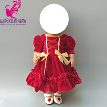 Doll Outfit Fits for 40cm Baby Doll Clothes Dress Red Winter Fur Dress for 18 Inch Doll Princess Dress Baby Gift(China)