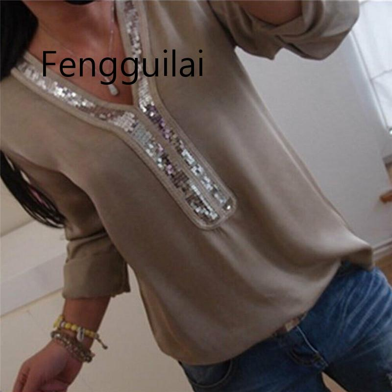 New 2019 Fashion Women's T Shirt Women V-neck Chiffon Casual Loose Sequin Top T-Shirt Plus Size
