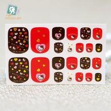 Y5535/2016 New Brand Red Love Heart Hellokitty Dot Toe Nail Art Wraps Sticker Feet Nail Art Foil Stickers