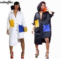 Contrast Color Patchwork Maxi Tshirt Dress Turn Down Collar Long Sleeve Asymmetrical Dresses Loose Knee Length Button Streetwear