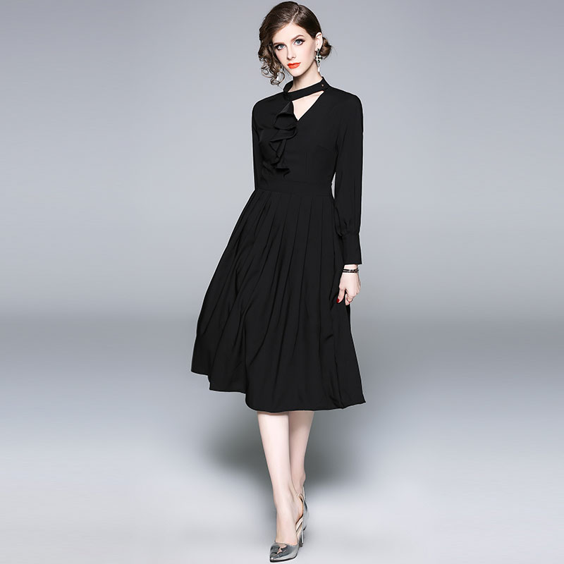 75909332d1c Borisovich Ladies Evening Party Dresses New Brand 2018 Autumn Fashion  England Style A line Elegant Slim Women Casual Dress M911-in Dresses from  Women s ...