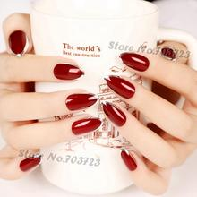 Lady Artificial False Nails Tips Golden Opposite French Nail Silver red Z107