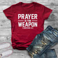 Prayer is the weapon corinthians t-shirt fate christian christianity jesus women fashion unisex grunge tumblr cotton casual tees