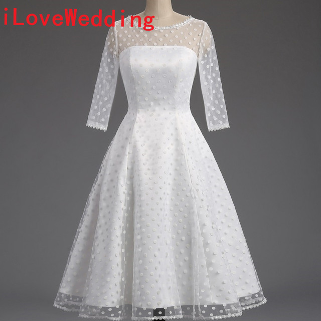 100% Real Short Wedding Dresses Formal 1950S Polka Dotted A-Line O Neck  Half Sleeve Mid Calf Bridal Gowns Party Dresses 46de20ecf39a