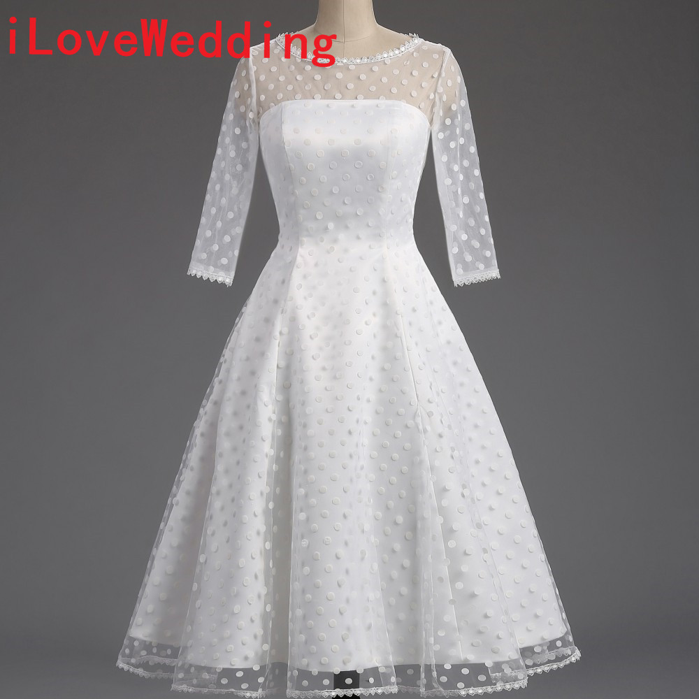 100% Real Short Wedding Dresses Formal 1950S Polka Dotted A-Line O Neck Half Sleeve Mid Calf Bridal Gowns Party Dresses