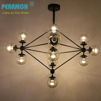 magic beans DNA Lustres wrought iron industrial Cafe pendant hanging lights project lamps Nordic Art Deco glass ball