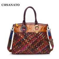 New 2016 Genuine Leather Handmade Bag Women Knitting Bag Patchwork Handbags Famous Brand Tote Bag Designer