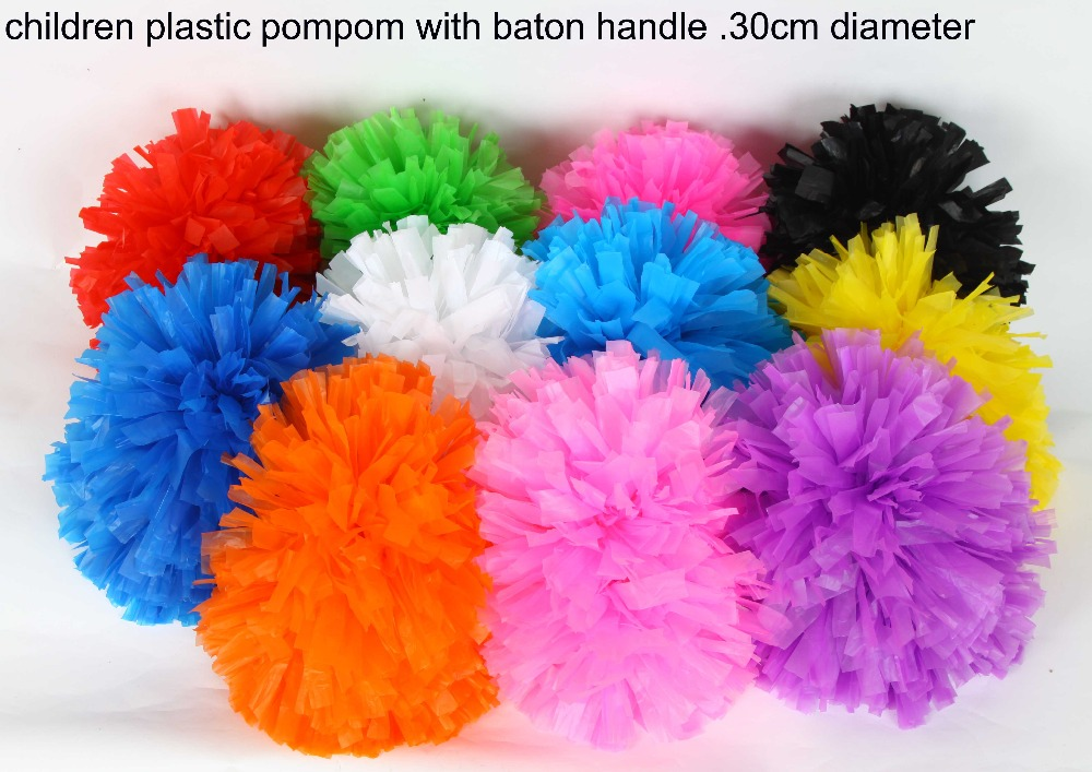 30cm 80g Plastic PE colorful Cheerleading pompom with baton handle Cheering pom pom item products,11 colors ballroom costume