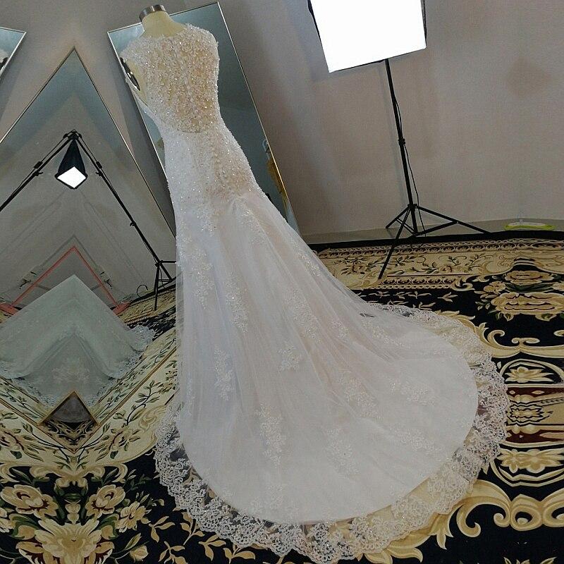 MN038 Vestidos de Novia V Neck Mermaid Lace Wedding Dresses Back Wedding Gown Vintage Robe de