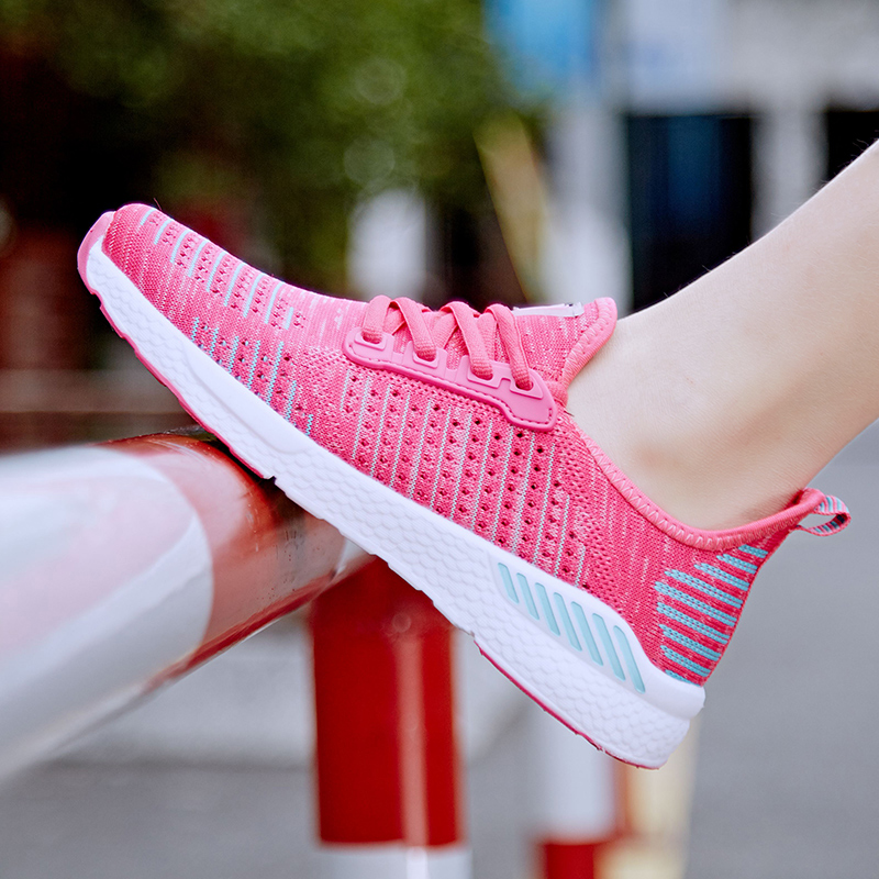 Womens spring and summer junior high school student sports female soft bottom light breathable lovers shoes running shoes men