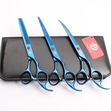Z3003 3Pcs 7.0 Blue Japan Steel Cutting Shears + Thinning Scissors Down Curving Professional Pets Hair Suit