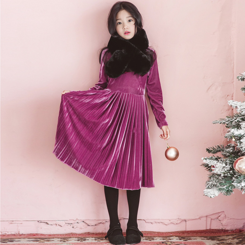 Kids Girls Long Sleeve Dresses 2018 Autumn Winter Big Little Girls Warm Velvet Dress for Girls Purple Dress Children Clothes ems dhl free shipping little girls kids children autumn winter faux fur waist one piece dress casual summer dress new tulle