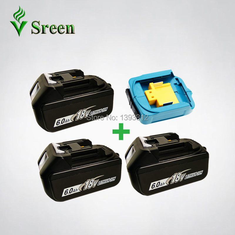 3PCS 18V 6000mAh BL1860 Replacement for Makita 18V BL1850 BL1830 BL1840 LXT Power Tool Rechargeable Li-Ion Battery & USB Charger 18v 6000mah rechargeable battery built in sony 18650 vtc6 li ion batteries replacement power tool battery for makita bl1860