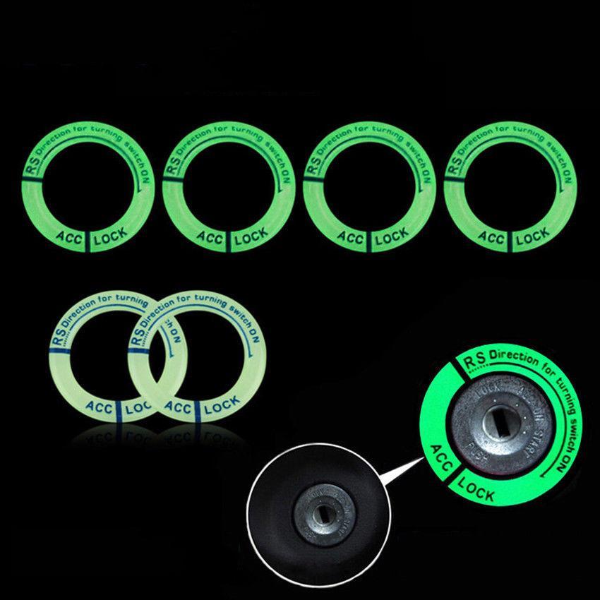 Pegatinas fluorescentes universales de visión nocturna que se ajustan a la cubierta luminosa de arranque del motor de encendido calcomanía de anillos con orificio para llave punta adhesiva