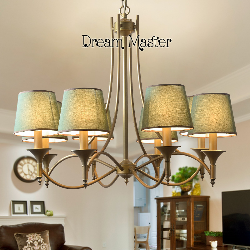 American country chandelier Nordic living room bedroom dining room lamp children room iron art blue style Mediterranean Pendant korean princess wrought lamp iron bedroom led lamp american pastoral style living room children chandelier