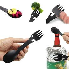 Stainless Steel Spoon Fork Bottle Opener Portable Outdoor Survival Tool Camping Equipment Cookware Multifuctional
