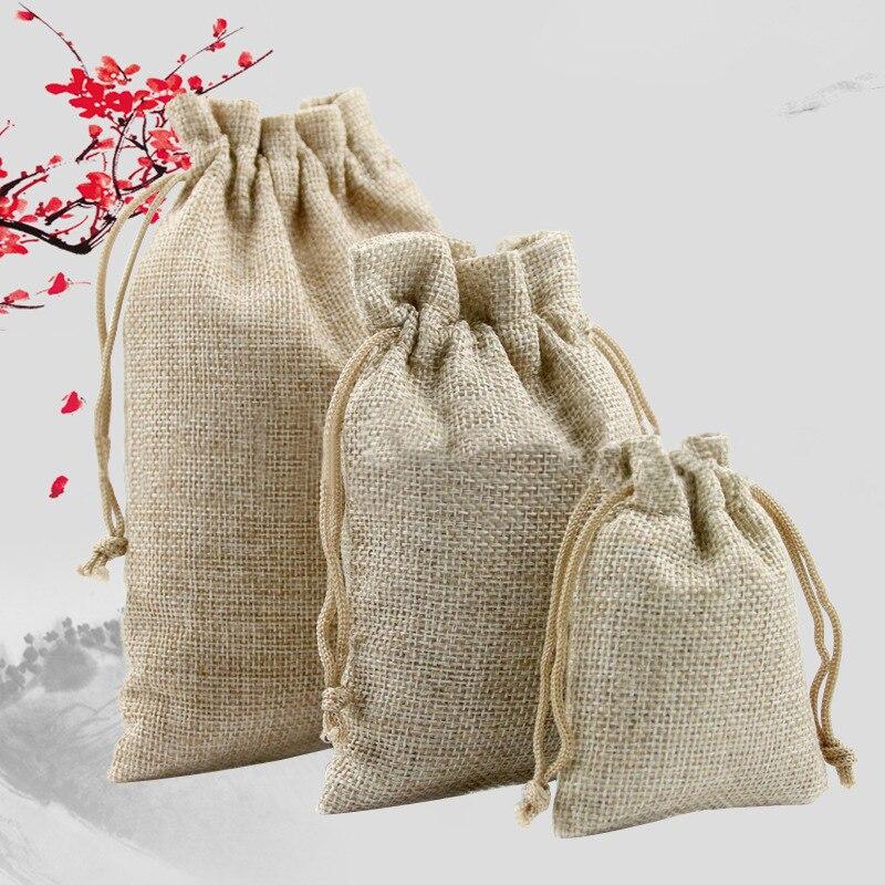 50pcs Wedding Burlap Jute Linen Favour Candy Gift Bags 7*9cm Drawstring Pouch