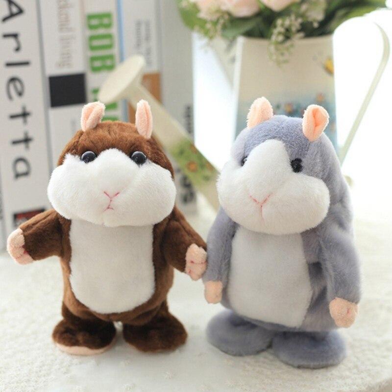 18cm Talking Hamster Pet Plush Toys Cute Sound Record Hamster Educational Speak Walk Toy Gifts for Kids Children