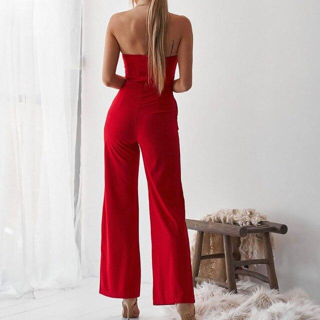 Fashion Cut Out Women Sexy Jumpsuit Summer Office Lady Strapless 2019 Long Pants Pocket Bodycon Jumpsuits Romper Plus Size M0596 3
