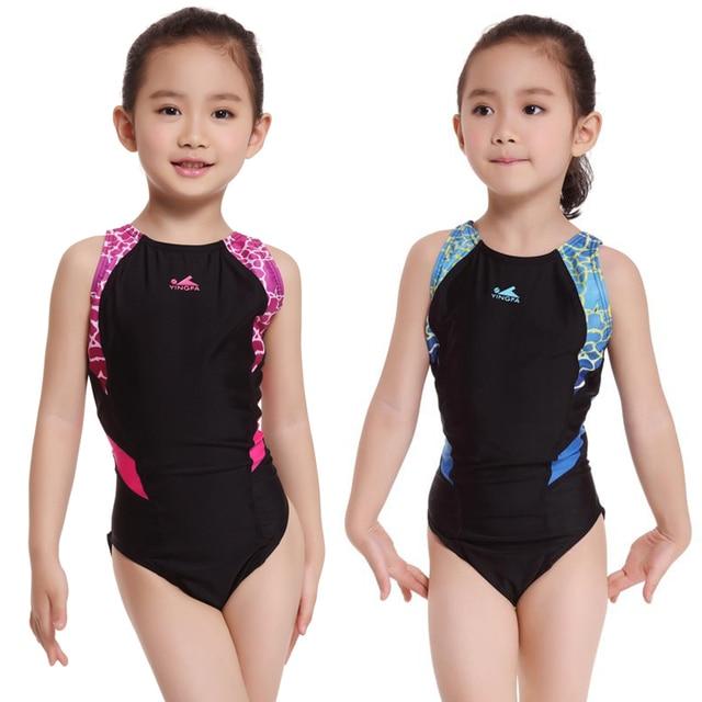 2016 Kids Girls One Piece Swimsuit Children Professiona Swimwear Baby Bathing Suits -4760