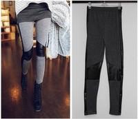 2013 New Fashion Cotton Leather Stitching Personality Leggings Korean Leggings