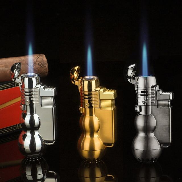 مسدس رش محمول ولاعة الشعلة صامد للرياح نفاث أنبوب توربو ولاعة معدنية للسيجار في الهواء الطلق 1300 C البيوتان ثابت لا يعمل بالغاز