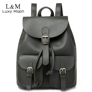 Image 1 - Vintage Women Leather Backpack Female Drawstring School Bag Black Rucksack Brand Shoulder Bags For Teenage Girls Backpacks XA27H