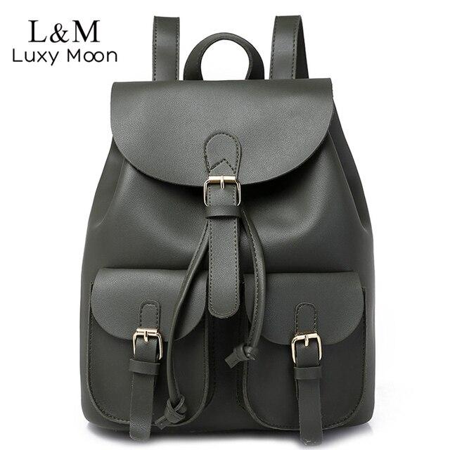 Vintage Women Leather Backpack Female Drawstring School Bag Black Rucksack Brand Shoulder Bags For Teenage Girls Backpacks XA27H