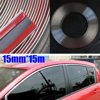 Mayitr 15M 15mm Durable Car Chrome Moulding Trim Strip Tape Door Edge Guard Protector Car Styling