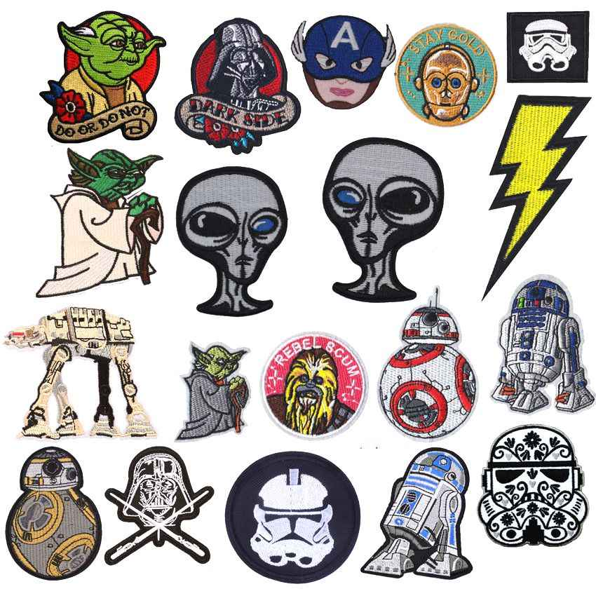 1Pcs New Arrival Alien Pikachu Yoda BB8 Iron On Parches Patch Clothes For Clothing Embroidered Diy Repair Badge
