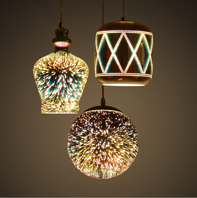 Led e27 Colorful 3D Effect Iron Glass LED Lamp LED Light.Pendant Lights.Pendant Lamp.Pendant light For Dinning Room Foyer Led e27 Colorful 3D Effect Iron Glass LED Lamp LED Light.Pendant Lights.Pendant Lamp.Pendant light For Dinning Room Foyer