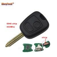 OkeyTech 2 Botão para Citroen Saxo Xsara Picasso Berlingo Substituir Controle remoto Shell Chave Do Carro Auto 433 mhz id46 Chip Sem Cortes lâmina