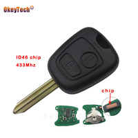 OkeyTech 2 Knop voor Citroen Picasso Saxo Xsara Berlingo Vervangen Afstandsbediening Auto Autosleutel Shell 433 mhz id46 Chip Ongesneden Blade