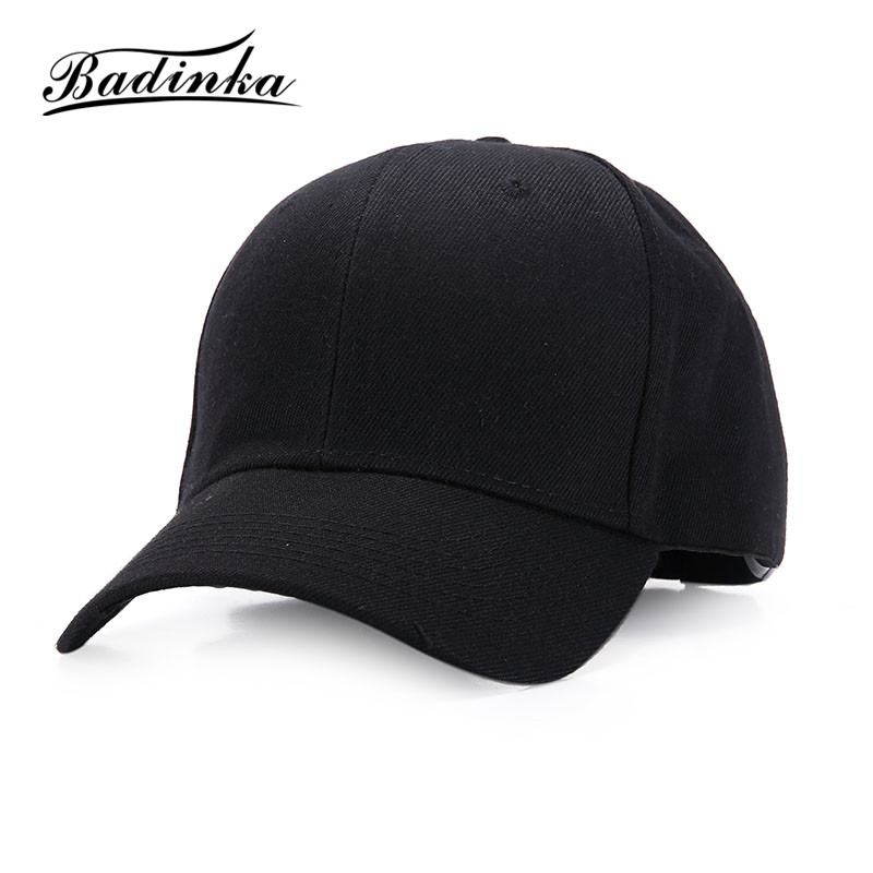 Badinka 2017 New Adjustable Solid Plain White Black Trucker Baseball Cap Women Men Hats Caps