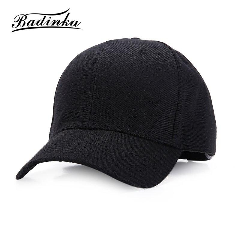 Badinka 2017 New Adjustable Solid Plain White Black Trucker Baseball Cap Women Men Hats Caps
