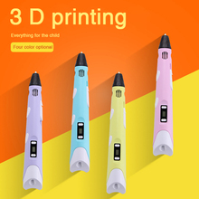 New 3 D printer drawing pen for kids birthday and christmas gifts LCD screen doodle 3D printing pen toys 3D model free filament