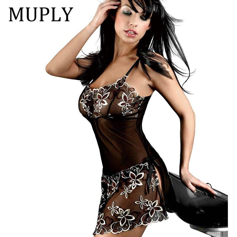 2018 Black Lingerie Women Sexy Lingerie Dress Transparent Lace Hollow Night Wear Sexy Ladies Lingerie Nightwear Underwear Erotic