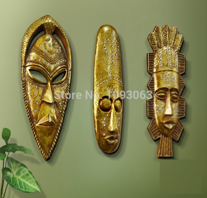 Us 43 69 5 Off African Style Tribal Mask Wall Art Hanging Living Room Bar Home Decoration Resin Vintage Golden In Stickers From Garden