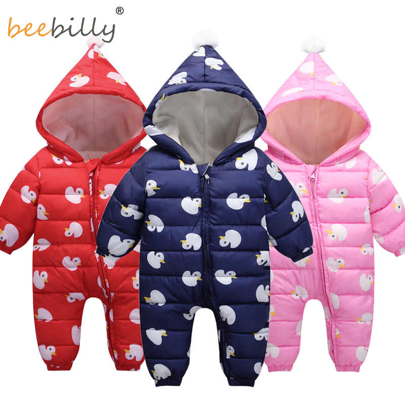 3dd17b9e96ed Baby Clothes 2018 New Winter Hooded Baby Rompers Cotton Outfit Newborn  Jumpsuit For Children Baby Costume