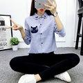 2016 Mulheres Camisas Blusas Gato Camisa De Manga Longa Listrada Turn Down Collar Camisas Femininas Moda Desgaste Do Trabalho de Escritório Ladies Tops