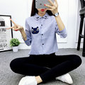 2016 Women Shirts Blouses Cat Long Sleeve Shirt Striped Turn Down Collar Camisas Femininas Fashion Office Work Wear Ladies Tops