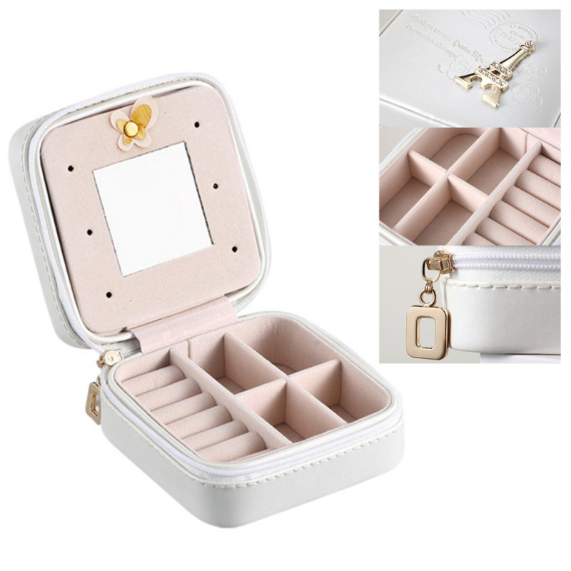 New Makeup Box Leather Jewelry Box Case Cosmetics Beauty Organizer Container Boxes Birthday Gift Travel Supplies